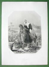 EGYPT GIRLS Costume Nile River Pyramids - SUPERB Print Engraving