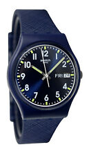 Swatch GN718 Sir Blue Analog Day Date Dial Silicone Strap Unisex Watch NEW