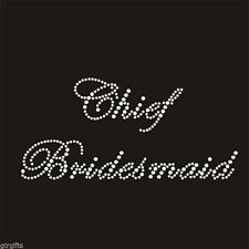 Clear Rhinestone Crystal Iron on T Shirt Design - Chief Bridesmaid
