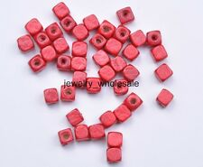 100pcs Charms Square Cube Wood Spacer Beads Jewelry Making 6x6MM 14 Color U Pick