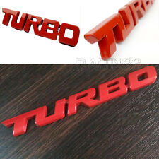 1Pc 3D TURBO Word Letter Sport Sticker Car Metal Chrome Logo Emblem Decal Red