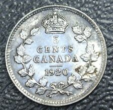 OLD CANADIAN COIN - 1920 5 CENTS SILVER - George V - Nice High Grade - LUSTRE