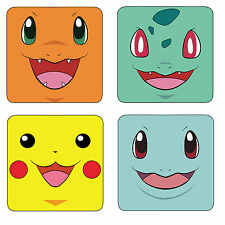 Pokemon Pikachu & More Set Of 4 Wood Coasters For Mugs/Cups Geeky Gamer Retro