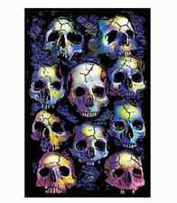 WALL OF SKULLS - BLACKLIGHT POSTER - 24X36 FLOCKED GOTHIC 6020