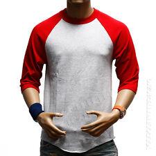 3/4 Sleeve  Plain T-Shirt Lot Baseball Tee Raglan Jersey Sports Men's Tee S-3XL