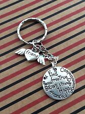 "Friendship Keyring Silver Tone Love Heart Angel Wings ""Friend"" Birthday Gift"