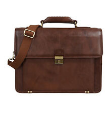 Genuine Leather Portfolio Office Laptop Bag, Document Files Folders Bags (Tan)