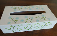 Vintage Raised  Blue Floral Tissue Box Cover / Holder