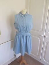 BNWT LOVE & PEACE @ MISSGUIDED BLUE LIGHT DENIM SILVER STUD COLLAR DRESS SIZE 14