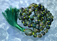 Sterling Silver 925 Heart Chakra Green Moss Agate Knotted Mala Bead Unconditiona