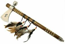 Functioning Indian Tomahawk Peace Pipe - Axe 19 Inches Wood Handle Feathers 5570