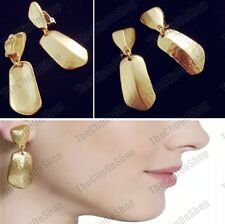 CLIP ON EARRINGS drop MATTE GOLD TONE vintage retro big chunky HAMMERED tribal