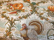 1 Yd Fall Harvest Quilt Fabric Turkey Ogee Toile Corn Vines Flowers Pumpkin