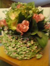 "FLOWERS FLORAL BASKET PASTEL DECORATIVE DECORATION PINK GREEN 11"" HIGH"