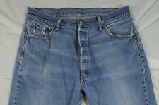 Levi 501 Button Fly Straight Leg Faded Denim Jeans Tag 38x30 Measure 34x26