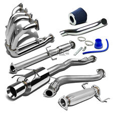 "FOR HONDA ACCORD CD L4 4""ROLLED TIP STAINLESS CATBACK+PIPE+HEADER EXHAUST+INTAKE"