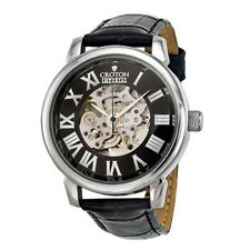 Croton Mens C1331072BSSL Watch Automatic Black Leather Skeleton