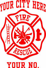 Firefighter Decal - Maltese Cross - Custom Cut with your Information - NEW