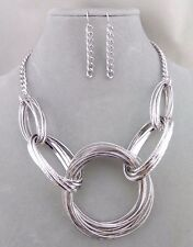 Silver Multi Ring Necklace Earrings Set Fashion Jewelry NEW