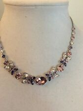 Givenchy Rhodium   Tone Pink/Purple Crystal  Frontal Necklace $98 Item # 128