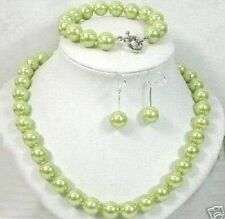 nobelset 8mm Green southsea shell pearl necklace/bracelet earring AAA