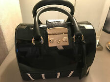 NWT Furla GZB Candy Satchel bag 746461 PVC/Leather black/Zebra print