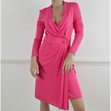 VERSACE Rosa Avvolgere Manica Lunga vestito Stretch Jersey IT 44 UK 12