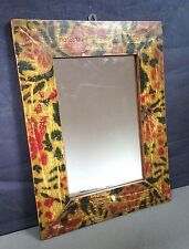 ANTIQUE/VINTAGE INDIAN, COLONIAL RAJ TEMPLE MIRROR. PAINTED TIGER PATTERN FRAME.