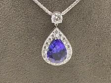 Bespoke 18 carat 18k White Gold 3.16 Carat Tanzanite 0.92 Point Diamond Pendant