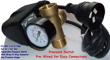 FULLY ADJUSTABLE PRE-WIRED PUMP PRESSURE SWITCH INCL. BRASS TEE AND GAUGE