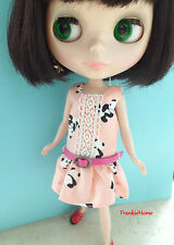 Blythe Doll Outfit Panda Print Pink Dress + Belt Set