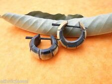 African Wooden Handmade Tribal Black & Gray Organic Wood Stick Earring WER280