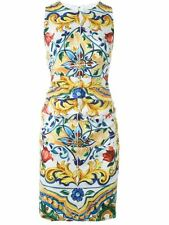 Dolce & Gabbana Maiolica Tile-Print Ruched-Waist Dress Orig$2496.00+tax 42IT/8US