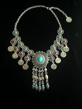 Vintage Style Necklace Coin Silver Hippie Boho Tribal Belly Dance Bohemian UK