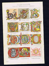 ALPHABET CAPITAL LETTERS ILLUMINATIONS 1880s Chromolithograph