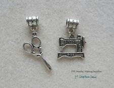 Sewing Machine Scissor Quilter Charms for Euro Bracelet Add On Charms Large Hole