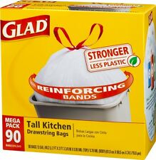 Glad Tall Kitchen Drawstring Trash Bags, 13 Gallon, 90 Count, New, Free Shipping