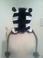 New Zebra Hat W/ Mane & Ears FUR Earflap Animal Knit Aviator Trapper Mohawk Cap