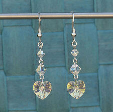 Sterling Silver Drop Earrings with Swarovski Elements Clear AB Crystal Heart