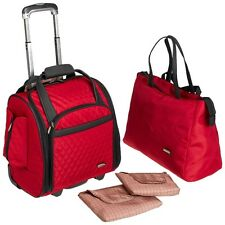 Travelon  Wheeled Underseat Carry-On with Back Up Bag Red 6454-200