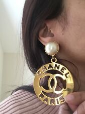 Iconic Huge Vintage $2,000 Chanel Pearl Gold Dangle Earrings Signed Authentic