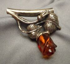 European Pendant - Leafy Silver & Carved Baltic Amber Rose w/ Tubular Bale