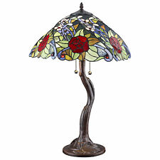 "Tiffany Style Rose Tree Table Lamp  Handcrafted 18"" Shade"