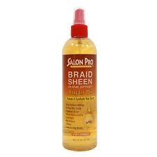 Salon Pro Argan Oil Braid Sheen Shine Spray for Human & Synthetic Hair 12oz