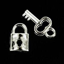 Padlock & key Charms Silver Card making ~Jewellery~Scrapbooking x 10 NP41