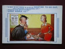 POSTCARD COMIC A BOY IS ALWAYS WANT TO GO OUT - WHAT IS HIS NAME - JIMMY RIDDLE
