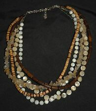 SILPADA - N1507 - Wood Rutilated Quartz MOP Tiger Coconut Necklace - RET