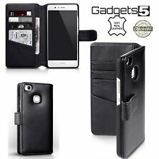 Real Genuine Hand Crafted Leather Black Wallet Original Case for Huawei P9 LITE