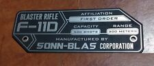 CUSTOM F-11D BLASTER RIFLE SPECIFICATIONS DATA PLATE STAR WARS STORMTROOPER