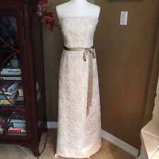 DAVID MEISTER Gold Ivory Brocade Strapless Neiman Marcus Formal Prom Gown Dress